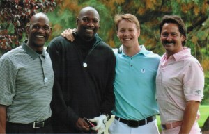 Ron Sloy golfing with Terry Porter, Jerome Kersey and  Mike Tudor